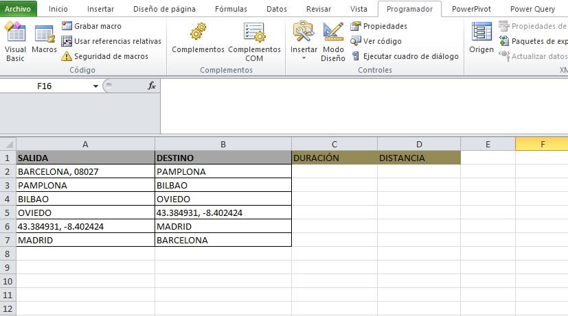 API MATRIZ DE DISTANCIAS EN VBA | EXCEL SIGNUM