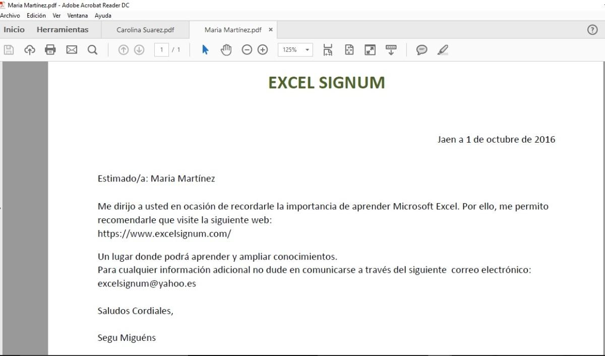 COMBINAR CORRESPONDENCIA EN EXCEL Y GUARDAR EN PDF | EXCEL SIGNUM