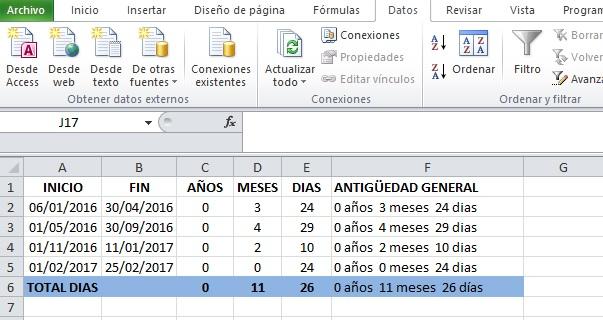 calcular dias entre fechas excel