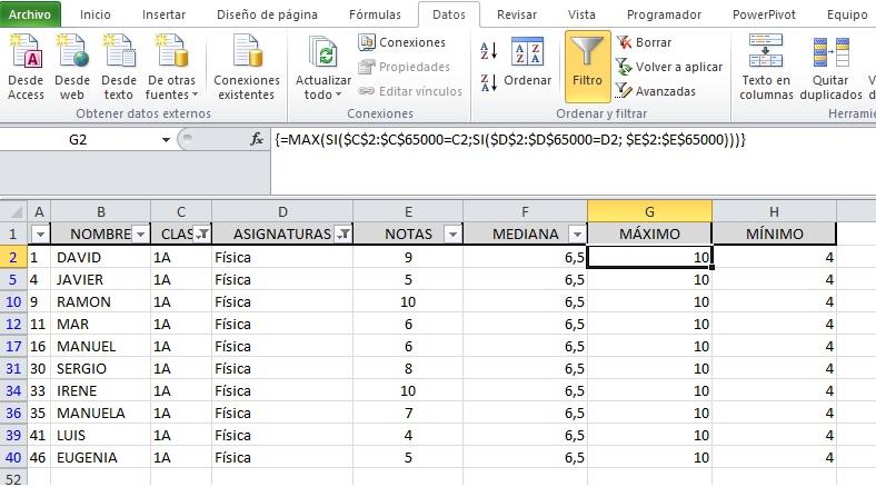 FUNCIONES MATRICIALES PARA OBTENER MEDIANA, MAX, MIN Y OTRAS FORMULAS2