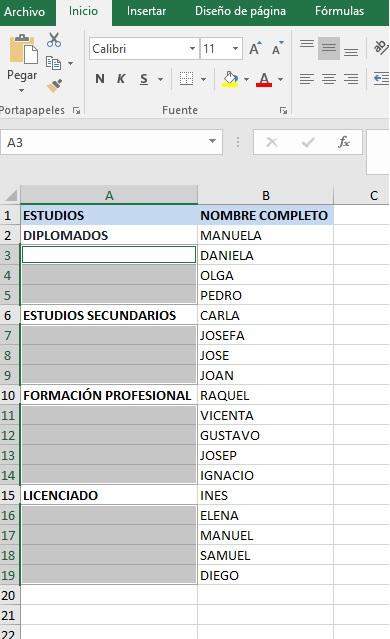 RELLENAR RANGO DE CELDAS VACÍAS CON EL VALOR DE LA CELDA SUPERIOR4