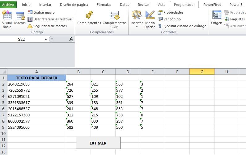 EXTRAER DATOS DE UNA CADENA DE TEXTO DE DOS EN DOS O MAS CARACTERES3