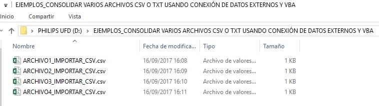 EJEMPLOS_CONSOLIDAR VARIOS ARCHIVOS CSV O TXT USANDO CONEXION DE DATOS EXTERNOS Y VBA