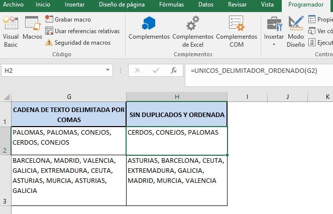 ELIMINAR DUPLICADOS EN UNA CADENA DE TEXTO Y ORDENAR INFORMACION2